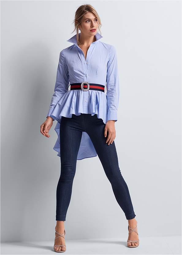 Front View High Low Pinstripe Blouse