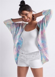 Front View Tie Dye Cardigan