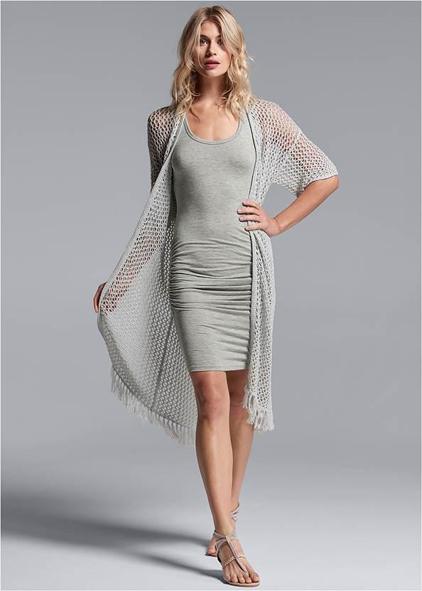 Open Knit Fringe Duster,Sleeveless Ruched Bodycon Midi Dress,Animal Chain Crossbody Bag