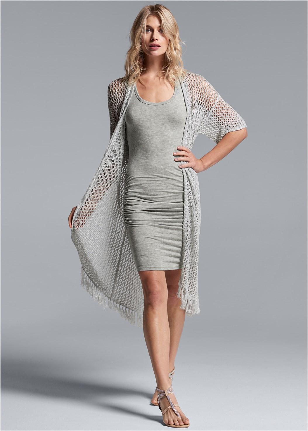 Open Knit Fringe Duster,Sleeveless Ruched Bodycon Midi Dress,Push Up Bra Buy 2 For $40,Rhinestone Thong Sandal,Tassel Detail Hoop Earrings,Animal Chain Crossbody Bag