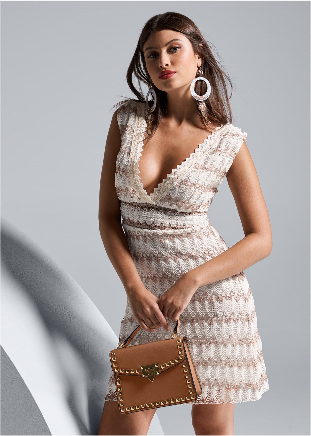 Lace Detail Dress,Cupid U Plunge Bra,Oversized Tassel Earrings,Stud Detail Handbag,Wicker Straw Bag