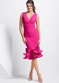 Full front view Ruffle Bodycon Dress
