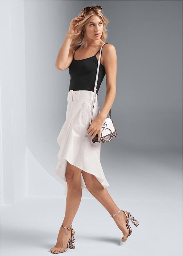 Ruffle Hem Midi Skirt,Basic Cami Two Pack,Lucite Detail Print Heels,Print Detail Handbag