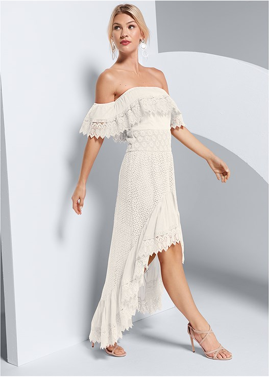 EYELET HIGH LOW DRESS,STRAPPY HEELS,LONG CIRCLE EARRINGS