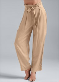Waist down front view Paperbag Waist Pants
