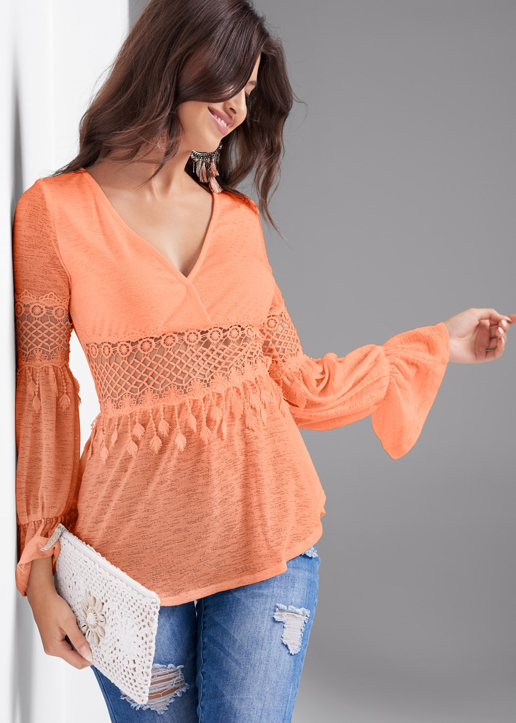 Crochet Bell Sleeve Top,Triangle Hem Jeans,Nubra Ultralite,Tassel Detail Hoop Earrings