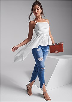 ruched asymmetrical top