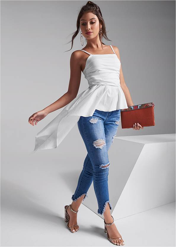 Full front view Ruched Asymmetrical Top