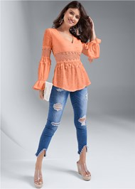 Front View Crochet Bell Sleeve Top