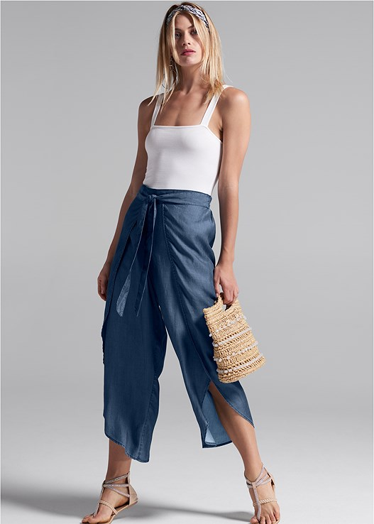 CHAMBRAY WRAP PANTS,SQUARE NECK BODYSUIT,NAKED T-SHIRT BRA,STUDDED ANIMAL PRINT SANDAL,KNOT DETAIL HEADBAND,WOVEN BEADED CLUTCH