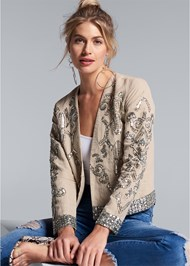 Front View Embellished Linen Jacket
