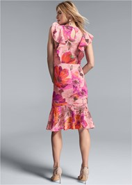 Full back view Floral Lace Ruffle Dress