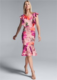 Full front view Floral Lace Ruffle Dress