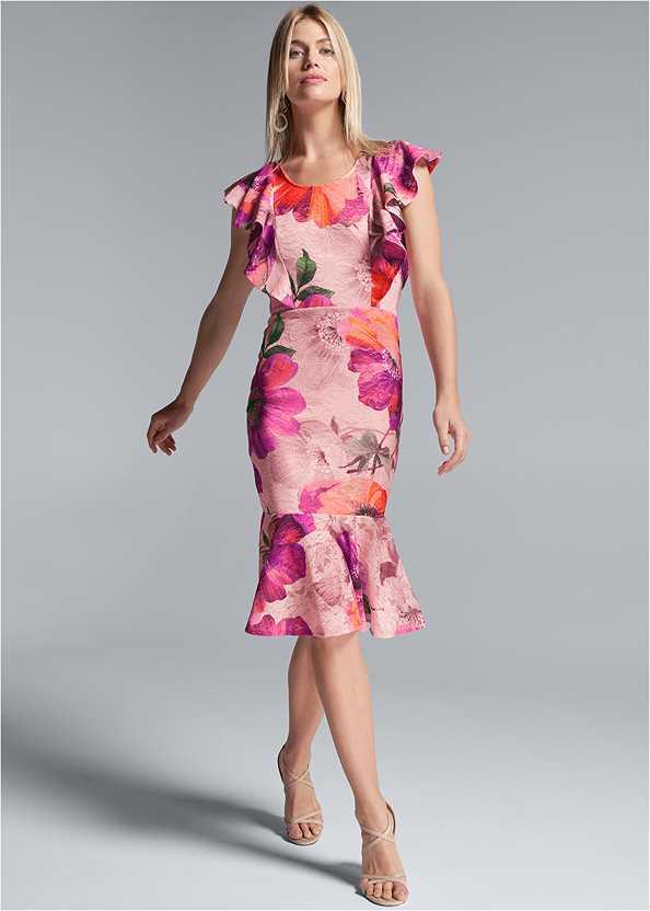 Floral Lace Ruffle Dress,Lace Bra Panty Set,Long Circle Earrings,Wooden Handbag