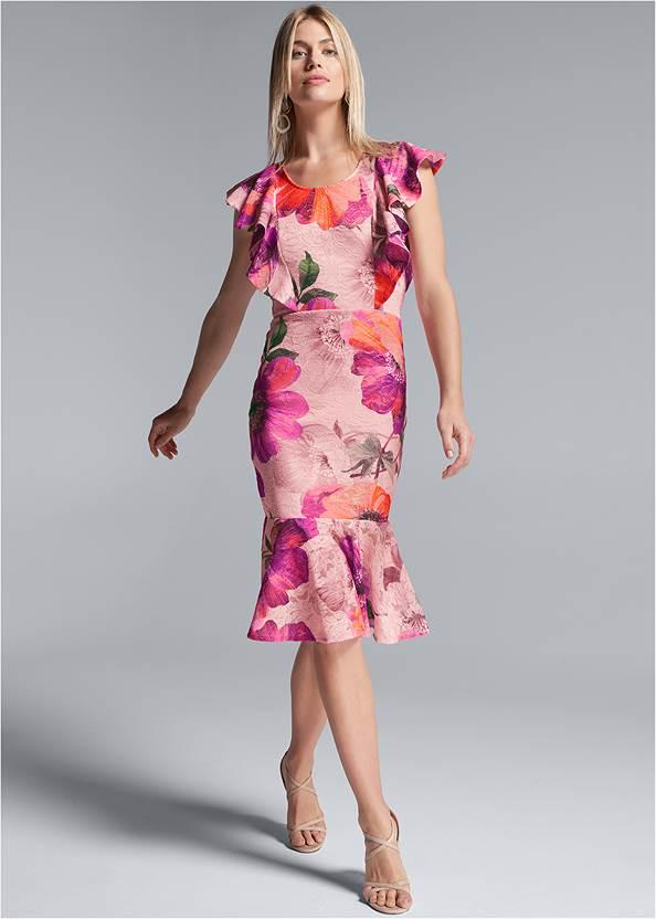 Floral Lace Ruffle Dress,Lace Bra Panty Set,Long Circle Earrings