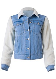 Ghost with background  view Teddy Sleeve Denim Jacket