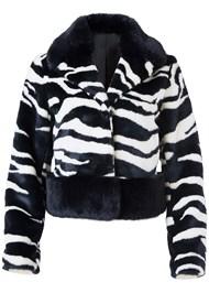 Front View Faux Fur Zebra Print Coat