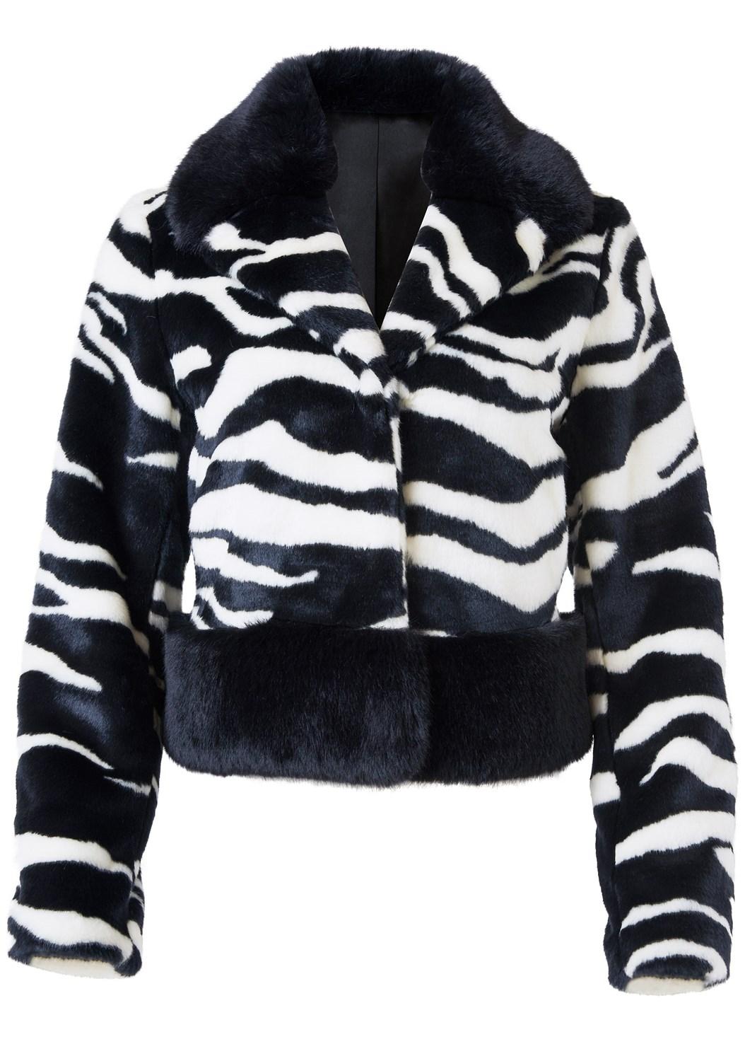 Faux Fur Zebra Print Coat,Mid Rise Slimming Stretch Jeggings
