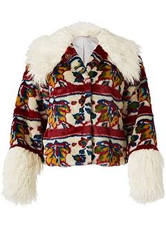 plus size printed faux fur coat