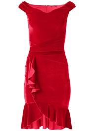 Ghost  view Velvet Ruffle Midi Dress