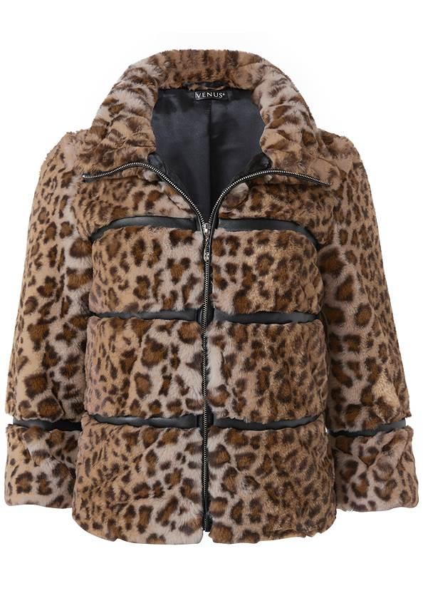 Alternate View Faux Fur Leopard Print Coat