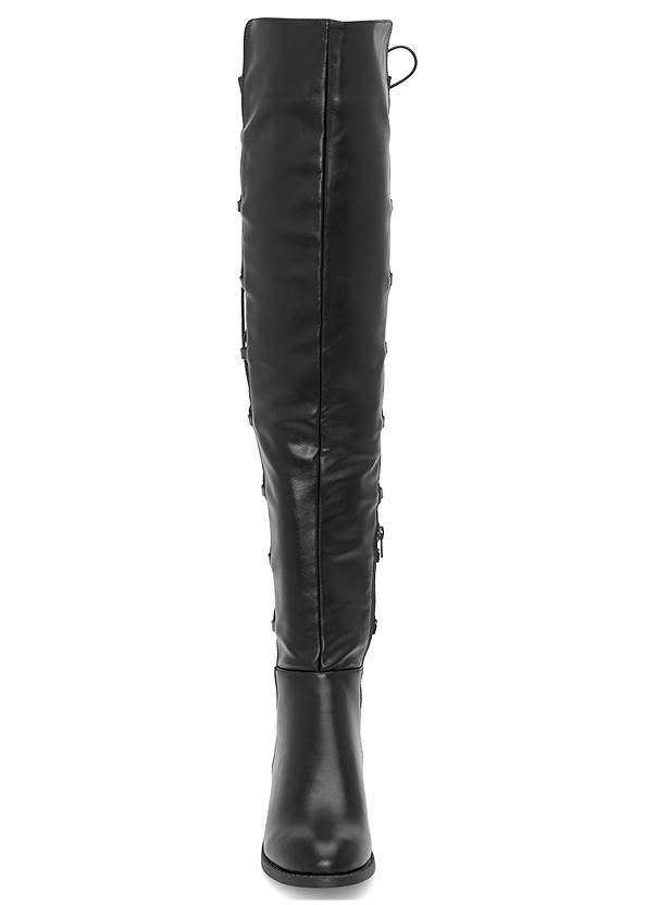 Front View Lace Up Back Detail Boots