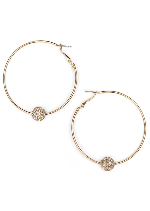 EMBELLISHED HOOP EARRINGS,V-NECK PLEATED TOP,COLOR SKINNY JEANS