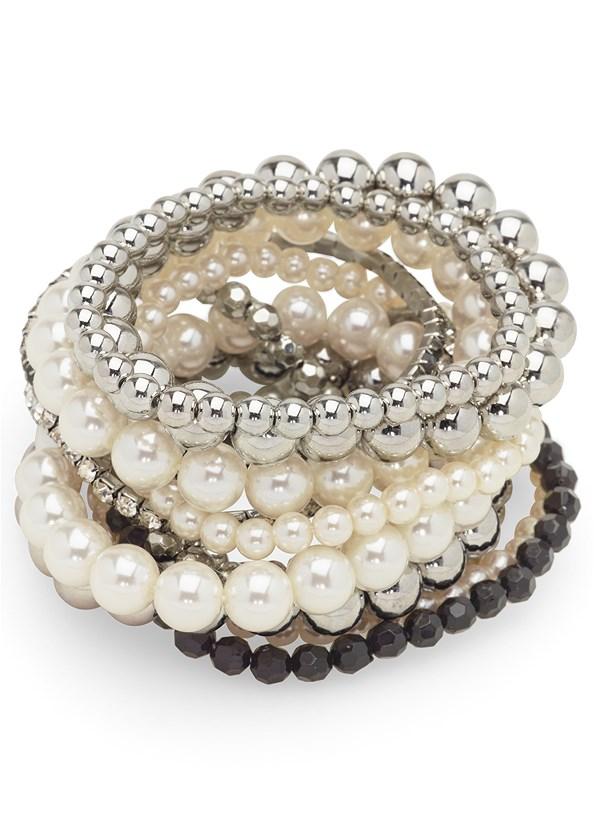 Pearl Detail Bracelet Set,Bandage Metallic Dress