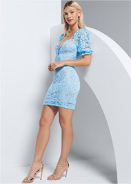 Full Front View Puff Sleeve Lace Mini Dress