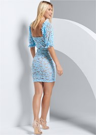 Back View Puff Sleeve Lace Mini Dress