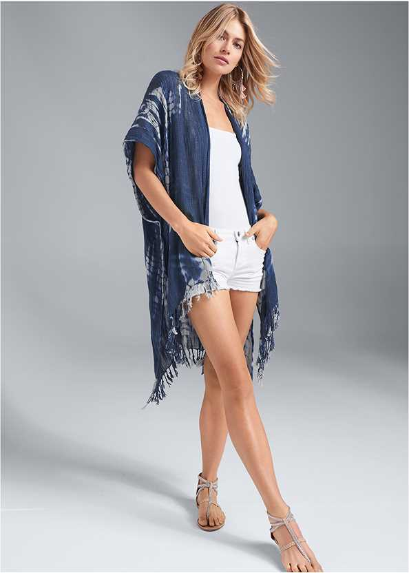 Indigo Tie Dye Kimono,Frayed Cut Off Jean Shorts,Tassel Detail Hoop Earrings