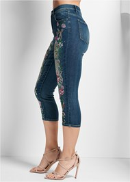 Waist down side view Embellished Denim Capri Jeans