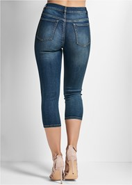 Waist down back view Embellished Denim Capri Jeans