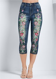 Waist down front view Embellished Denim Capri Jeans
