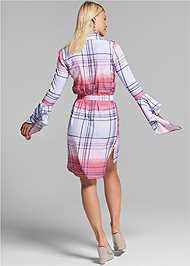 Full back view Ombre Plaid Dress