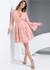Full front view Eyelet Bell Sleeve Dress