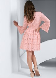 Full back view Eyelet Bell Sleeve Dress