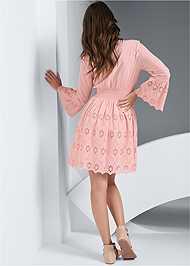 Full back view Eyelet Bell Sleeve Dress