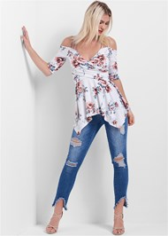 Full front view Cold Shoulder Floral Top