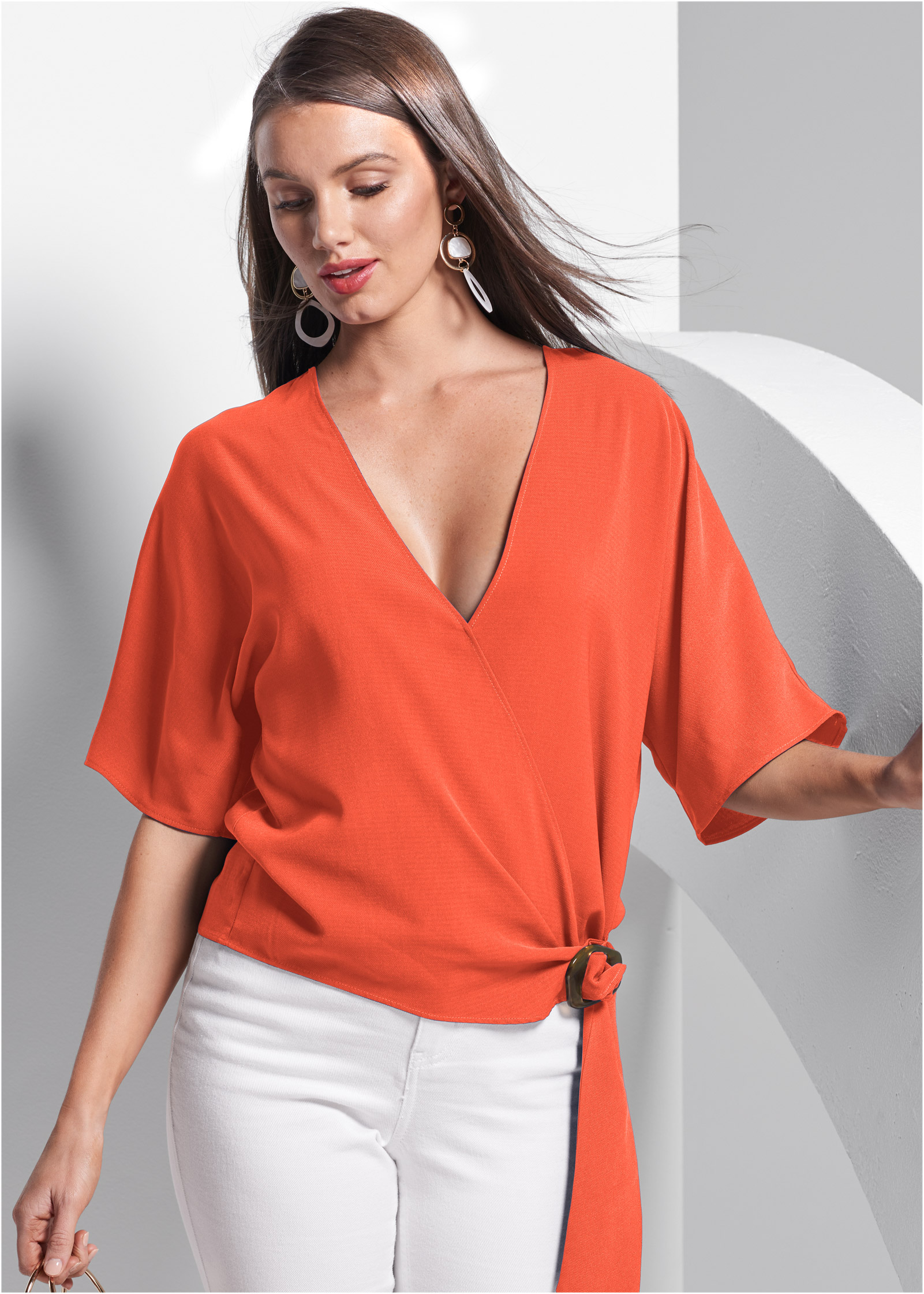 NEW Size 16 18 Colour Block Cold Shoulder Orange Black White Top Blouse