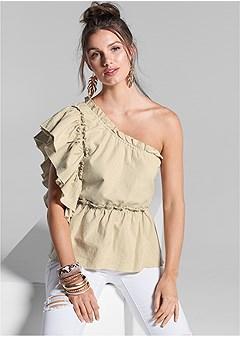 one shoulder linen top