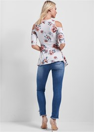 Full back view Cold Shoulder Floral Top