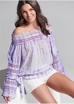 crochet detail tie dye top