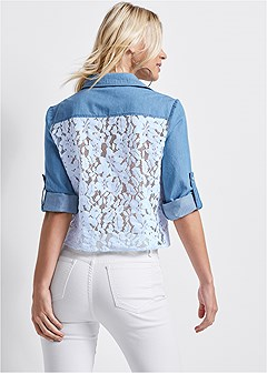 lace back chambray top