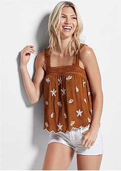 lace detail embroidered top