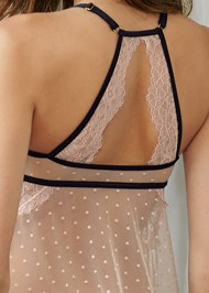 Detail back view Dot Mesh And Lace Babydoll