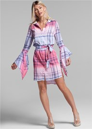 Full front view Ombre Plaid Dress