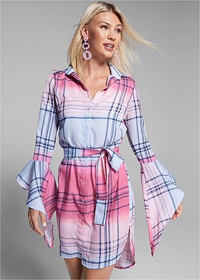 ombre plaid dress