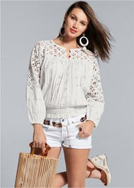 Cropped front view Smocked Waist Eyelet Top