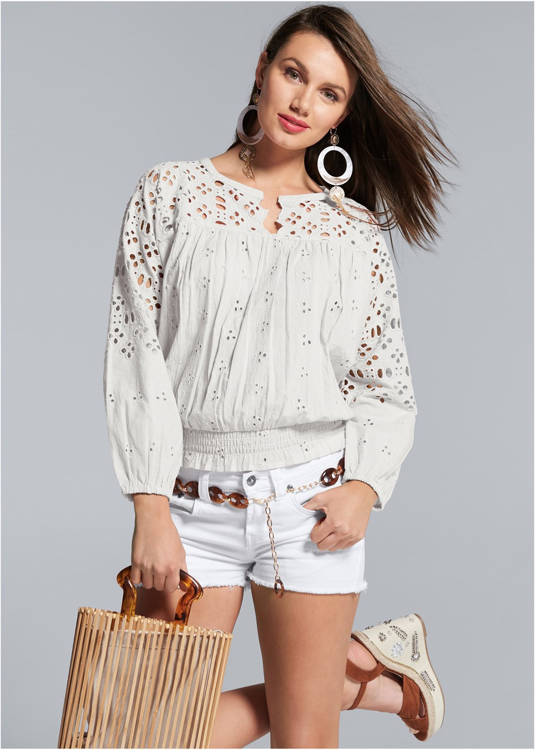 Smocked Waist Eyelet Top,Naked T-Shirt Bra,Frayed Cut Off Jean Shorts,Embellished Wedges,Oversized Tassel Earrings,Wooden Handbag